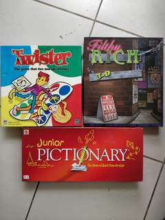 Three set boardgame (twister, Pictionary, Filthy Rich)