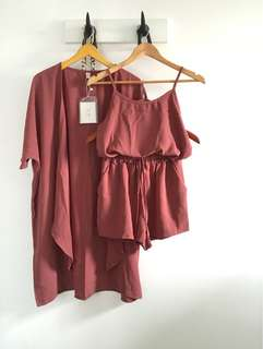 Baju 1 set : 3pc (cardigan, tanktop, short)