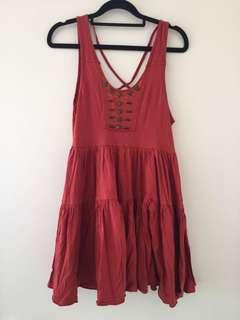 Orange boho mini dress