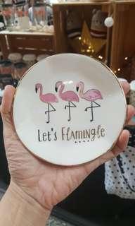 🚚 Ceramic Flamingo Trinket Holder