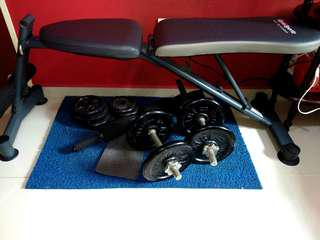 Dumbbells set with bench