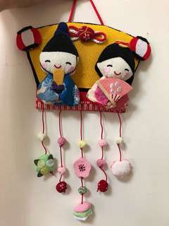 🚚 日本帶回 日本娃娃 掛飾 全新 手工 門飾