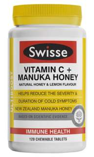 Swisse Ultiboost Vitamin C + Manuka Honey 維生素 C + 麥蘆卡蜂蜜片 120粒