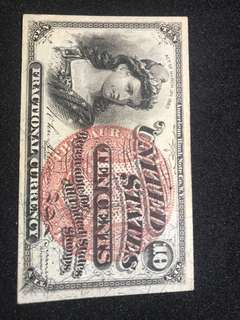 1860s USA 10 cents fractional note.