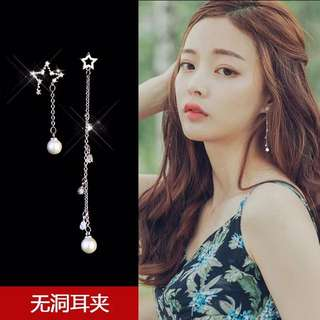 Silver star pearls clip on earrings
