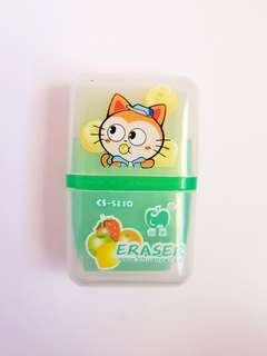 🆕️Cute 2 in 1 Green Eraser with Container