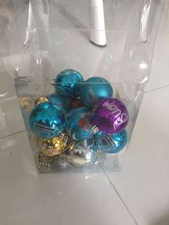 Box of Christmas tree ornaments