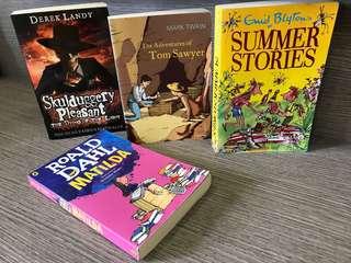 Roald Dahl/Derek Landy/Mark Twain/Enid Blyton books