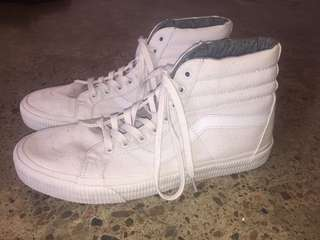 WHITE MENS HIGH TOP VANS SIZE 11 NEW