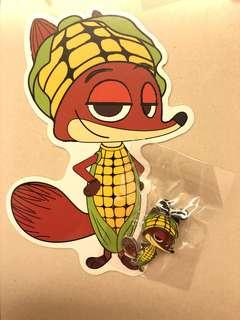 全新迪士尼徽章Nick game pin襟章連postcard