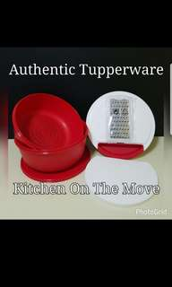 Authentic Tupperware  Kitchen On The Move (1) 26.4cm (D) × 14.2cm (H)  Comprises :- Modular Bowl 4L (1) 26.1cm (D) × 11.6cm (H) Colander (1) Cutting Board (1) Grater (1) Small Cup (1)  Retail Price S$78.00 set red color