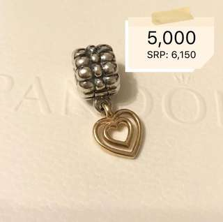 Pandora Two Toned Heart Pendant Charm (Guaranteed Authentic from US)