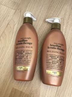 BN: OGX Brazilian keratin Relaxing Balm straight hair leave in treatment