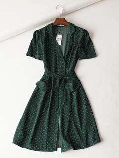 OshareGirl 06 歐美女士法式印花波點和服式綁帶造型連身洋裝連身裙