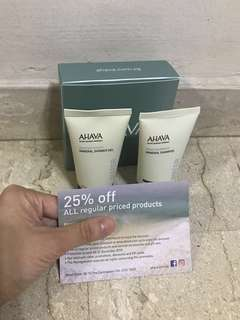 🚚 AHAVA deadsea water mineral shower gel and mineral shampoo gift set/ sample set/ travel set