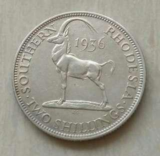 Southern Rhodesia 1936 2 Shillings Silver Coin With Good Details