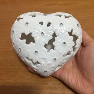 [100% New] Francfranc白色閃石陶瓷心型盒