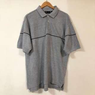 🚚 美式POLO衫 短袖上衣 休閒 橫條紋 灰 oversized 6月
