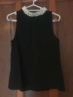 Alannah Hill black silk sleeveless top - size 6 - near new