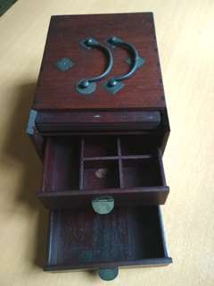 Vintage wooden box with concealed mirror
