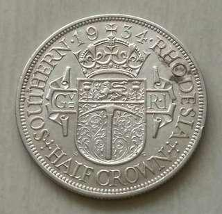 Southern Rhodesia 1934 Key Date Half Crown Silver Coin With Good Details