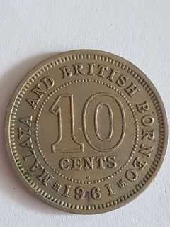 1961 Malaya and British Borneo 10 Cents