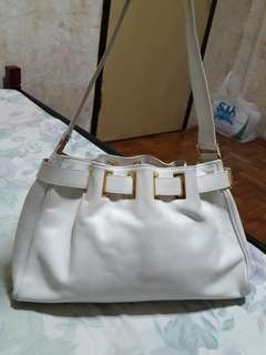 Double M Milano Genuine Leather Drawbelted White Bag