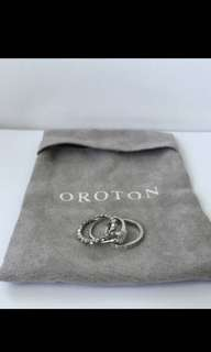 Oroton Tiga set of 3 Rhodium rings size 7