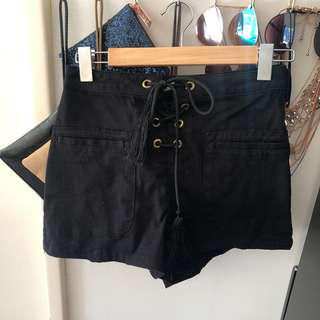 ASOS High Waisted tie up shorts black festival