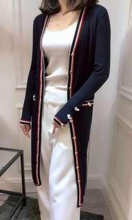 超值Thom  Browne純羊毛針織長洋裝長開衫 多穿法