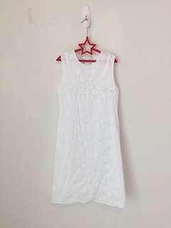 🚚 法式布蕾絲全白洋裝