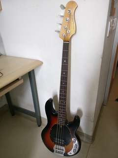 Active electric bass guitar + bass amp