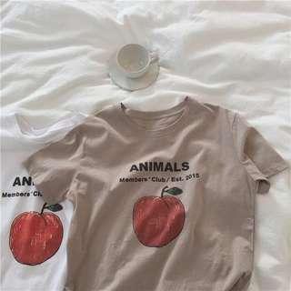🌞復古蘋果圖案短袖T恤 百搭 女裝上衣 打底