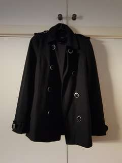 Asos Black Wool Coat Size 8/XS