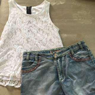 Sleeveless Lace + Shorts