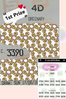 HUAT HUAT HUAT AH !!! 1ST PRIZE WINNER 3390!!! CONGRATS BRO WON AT 4D 1ST PRIZE !!! HE ALSO SEE IMPROVEMENT IN HIS SALES AFTER INVITING OUR AMULETS FOR 2 MONTHS !!! CONGRATS TO YOU BRO MAY YOU HUAT MORE & MORE !!!