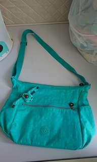 Kipling Bag 湖水綠色長帶揹袋
