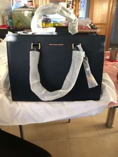 New Michael Kores Navy blue top handle crossed body bag