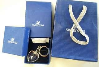 Swarovski 心型粉紅水晶鎖匙扣