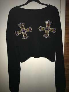 Black crop top jersey