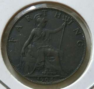 Britain 1905 Farthing Coin With Good Details