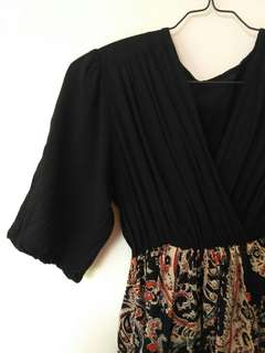 Empire waist black batik dress