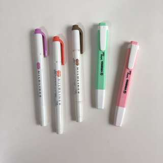 highlighters (mildliners, stabilo cool swing)
