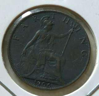 Britain 1906 Farthing Coin With Good Details