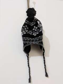 Black wool knit ski beanie