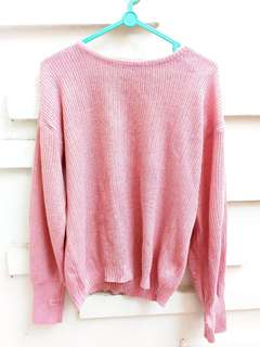 Baju atasan sweater  rajut dusty pink