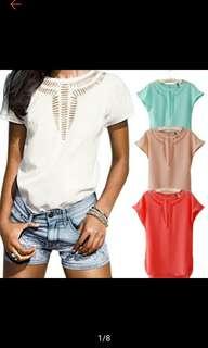 Women Casual Chiffon Blouse Short Sleeve Shirt Tshirt