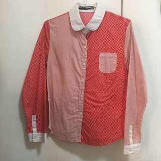 🚚 紅色拼接水玉點點條紋襯衫
