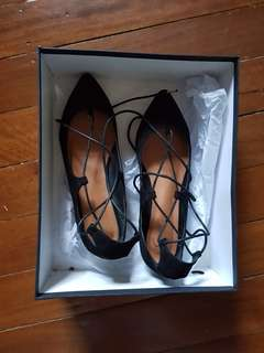 Spurr Lace Up Pointed Flats Size 8/39