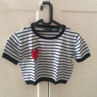 Stripes heart croptop